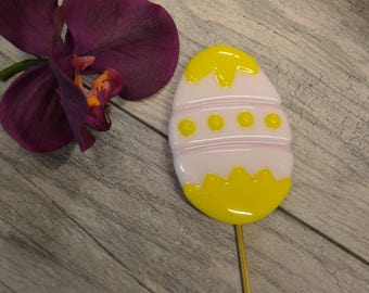 Decorated Easter Egg Plant Stake, Garden Stake, Fused Glass, Easter Gift, Yellow