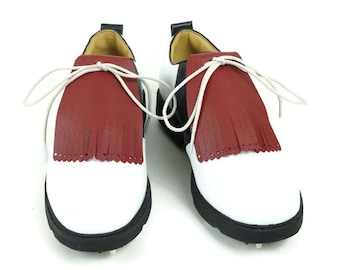 Dark Red Kilties for Mens Golf Shoes, Kiltie, Lindy Hop Swing Dance, Leather Tassels, Golf Gifts for Men, Golf Gift for Dad, Golf Stuff