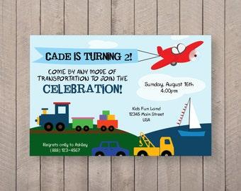 Transportation Birthday Invite - 7x5