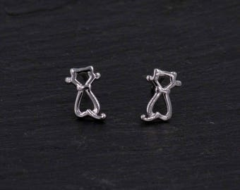Sterling Silver Cute Cut-out Little Kitty Cat Stud Earrings,  Fun and Quirky, Anti-Tarnish Finish H23