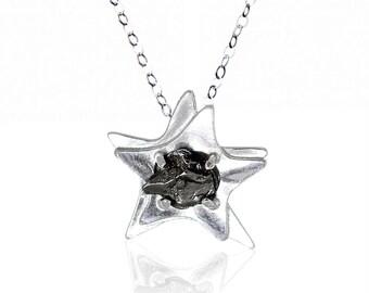Silver Star Meteorite Space Pendant - Sterling Silver