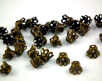 ♥ 15 PCs caps filigree antique bronze 6mm ♥