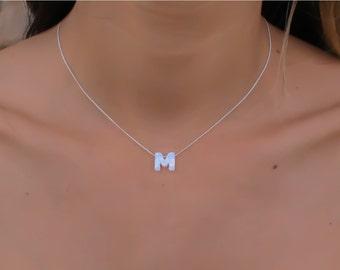 Opal necklace, opal letter necklace, opal silver necklace, opal jewelry, tiny dot necklace, opal bead necklace, dot necklace, white opal