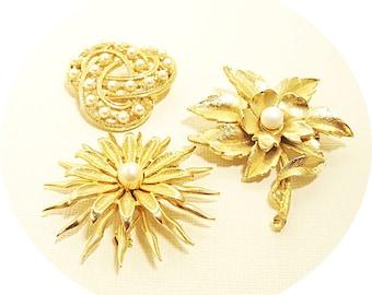 Vintage Brooch, Vintage Pins, Gold and Pearls, Set of 3 Pins, Vintage Jewelry, Pearl Brooch