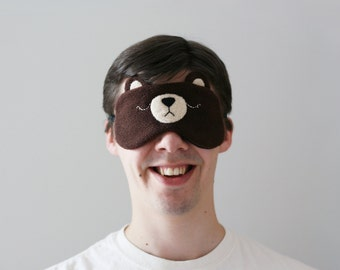 Brown Bear Eye Mask, Fleece, Silk Back, Adjustable Strap, Woodland Accessory, Animal Gift