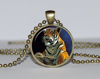 TIGER PENDANT NECKLACE  art tiger charm Pendant tiger jewelry