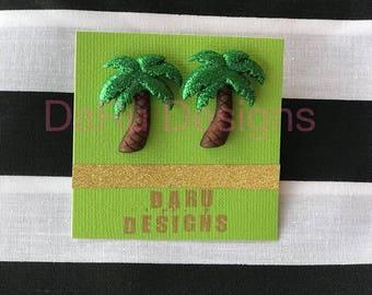 Green Glitter Palm tree earrings, tropical earrings, stud earrings, Caribbean earrings