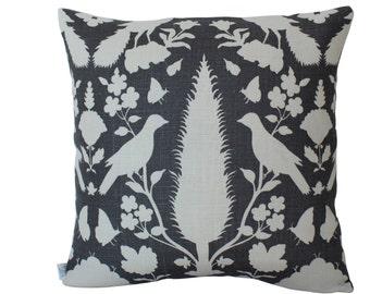 Schumacher Chenonceau Bird Pillow Cover in Grey