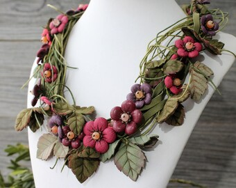 Leather Flower Necklace, Flower Necklace, Leather Flower, Leather Jewelry, Leather Necklace