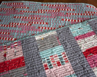 baby quilt or wall hanging // wacky coins quilt in sherbet pips fabrics // READY TO SHIP