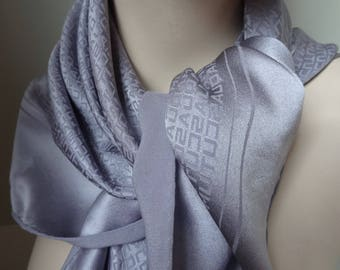 Vintage Aquasqutum Large Square Scarf Dove Grey Pure Silk