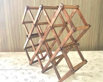 Vintage Accordion Rack Wine Rack Wooden Towel Rack Hanging Rack, Made in Japan