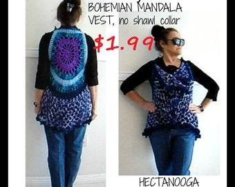 "CROCHET VEST PATTERN - Mandala vest, Bohemian vest sweater, Adult small, (30-38"" chest) #1135, Women and teens clothing, crochet supplies,"