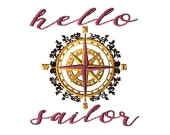 Embroidery File 5x7: Hello Sailor