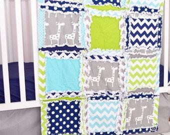 Giraffe Crib Bedding - Navy / Green / Gray - Jungle Crib Set - Safari Crib Bedding - Boy Crib Bedding - Boy Nursery Bedding Crib Rag Quilt