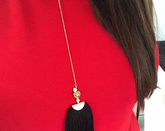 Necklace in Gold filled with Color Tassel.
