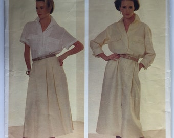 Vintage Vogue, Vogue 1320, Calvin Klein Pattern, A-Line Dress, Skirt and Top,  American Designer, size 10, uncut