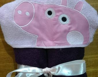 Cochon rose à capuche serviette, serviette à capuche