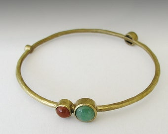 Brass stacking bangle, jade, carnelian, coral bangle, pearl stones bangle, multi stone bangle, stacking bangle - Burning bright BK6700