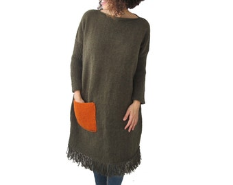 Army Green Hand Knitted Dress with Orange Pocket