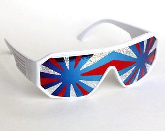 Rasslor Style America 3 Star Burst Shield Sunglasses