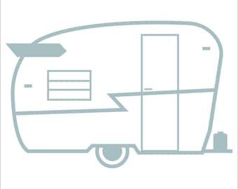 Vehicle window vinyl decal, Vintage Shasta Trailer