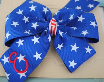Stars and Stripes Girls Hair Bows Patriotic Hair Bow for Toddlers Initial 5 Inch Hair Bow Clip 4th of July Outfit Personalized Bow for Girls