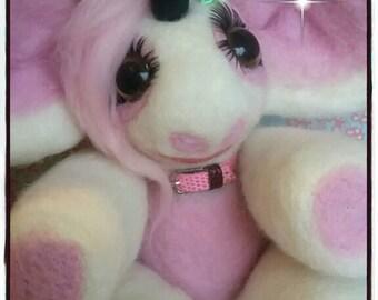 Needle felted Pink Unicorn.Hand needle felted Keepsake.Made to order.
