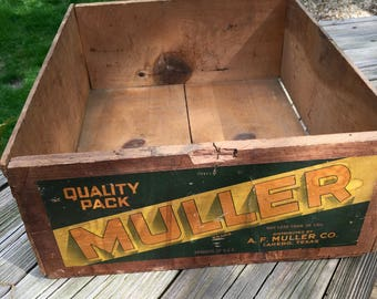 Vintage Wood Crate, Crate Label, A.F.Muller Co., Farmhouse, Rustic, Industrial Decor
