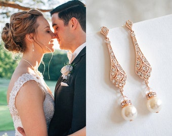 Wedding Earrings, Rose Gold Bridal Earrings, Swarovski Pearl Drop Dangle Earrings, Stud Earrings, Old Hollywood Wedding Jewelry, TRISSIE