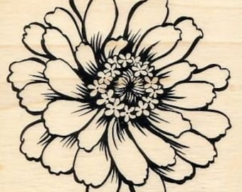 Flower Stamp, Stampendous, Zinnia, Rubber Stamp, Card Making, Paper Craft