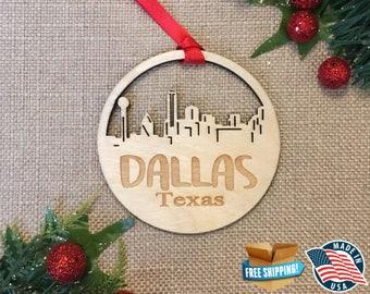 Dallas Texas Ornament *** Skyline Christmas Holiday Ornament *** TX