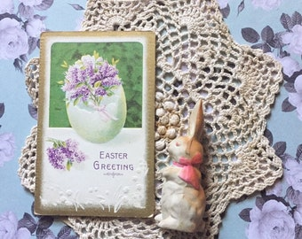 Antique Easter Post Card - Easter Egg - Lilacs
