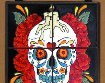 Day of the Dead Tile Mural Rose Man