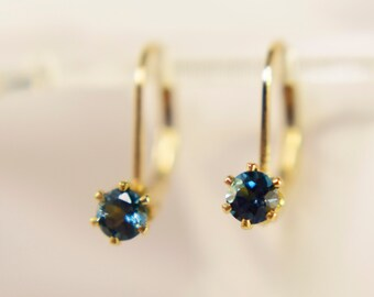 London Blue Topaz Earrings, 4mm Round Genuine Topaz Gemstones, 14kt Gold Filled Leverback Earrings