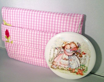 Pink Gingham Fabric Case with Sisters or Best Friends Pocket Mirror