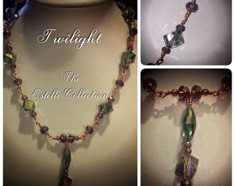 Twighlight: Handcrafted Light Blue & Purple Crystal Necklace