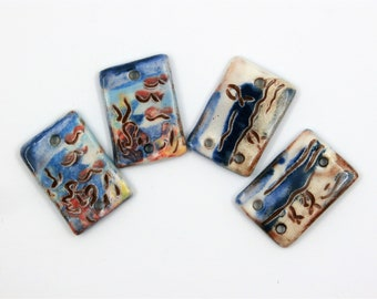 2 pairs of seabed connectors, corals, fish, sea, beach, nautical, rectangular, enameled, ceramic components for jewelry, art beads, pottery