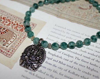 Ganesha pendant gemstone necklace - teal necklace - healing gift - spiritual jewelry - obstacle remover