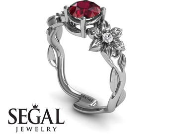 Gift Ideas For Women  White Gold Ruby  Ring Nature Inspired Ring Floral Ring Art Deco Ring Gift Ideas For Women  - Julia