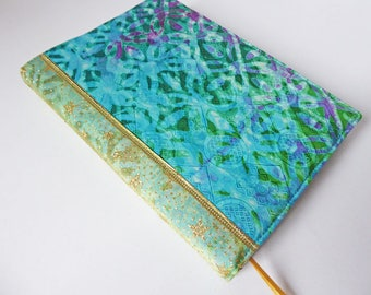 A5 'Batik' Planner Cover, Diary & Cover, Removable Book Cover, Fits Hobonichi Cousin, Batik Cotton, Gold Glitter Ribbon, OOAK, UK Seller
