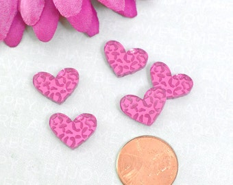 LEOPARD HEART CABS - Set of 5 Pink Mirror Cabochons in Laser Cut Acrylic