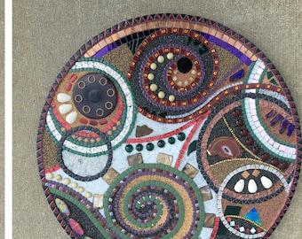 """24 inch circular mixed media mosaic, abstract, """"Inverse Formation"""""""