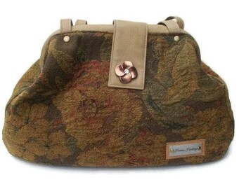 Carpetbag, Doctor bag, Tapestry Purse, Faux Leather bag, Overnight bag, Carry on, Weekender bag, Fabric Handbags, Brown handbag, Floral bag