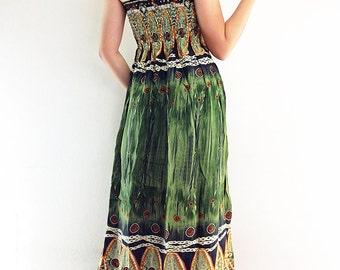 Thai Women Maxi Dress Gypsy Dress Boho Dress Hippie Dress Summer Beach Dress Long Dress Party Dress Clothing Printed Olive Green (DL1)