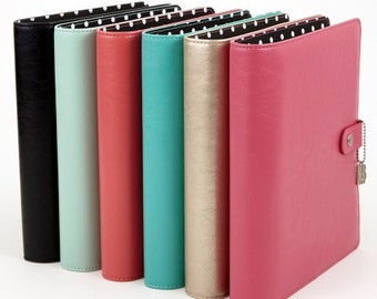 Simple Stories Carpe Diem A-5 Split Leather Planner - Pink. Planner Supplies. Pink Planner. A5 Planner. Gifts for Her.