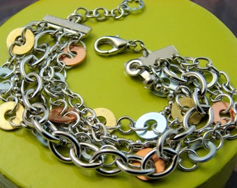 Multi Chain and Washer Bracelet