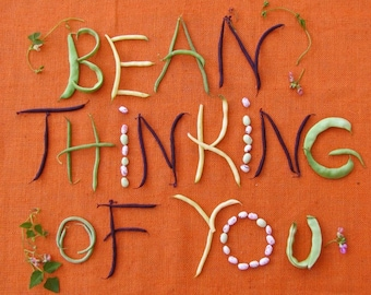 Bean Thinking of You Greeting Card Blank inside