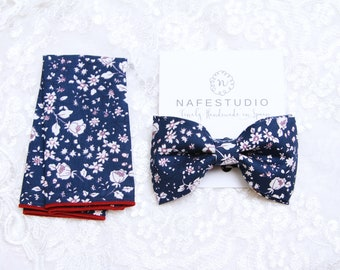 Mens Bow Tie Navy Blue Floral Bow Tie For Men - Pre-tied Bow Tie - Handmade Mens Gift Wedding Gifts Groom Bow Tie