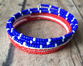 Red, White and Blue Seed Bead Memory Wire Wrap Bracelet